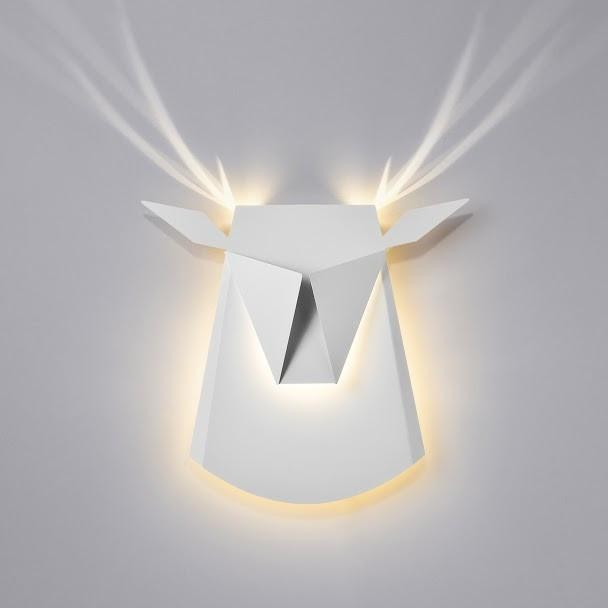 Deer head - Aluminum lamp - White