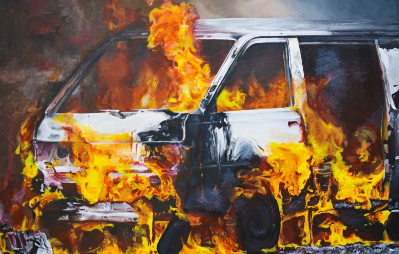 Van on fire